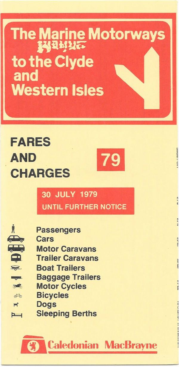 Caledonian MacBrayne - Fares and Charges 1979/7/30 - leaflet